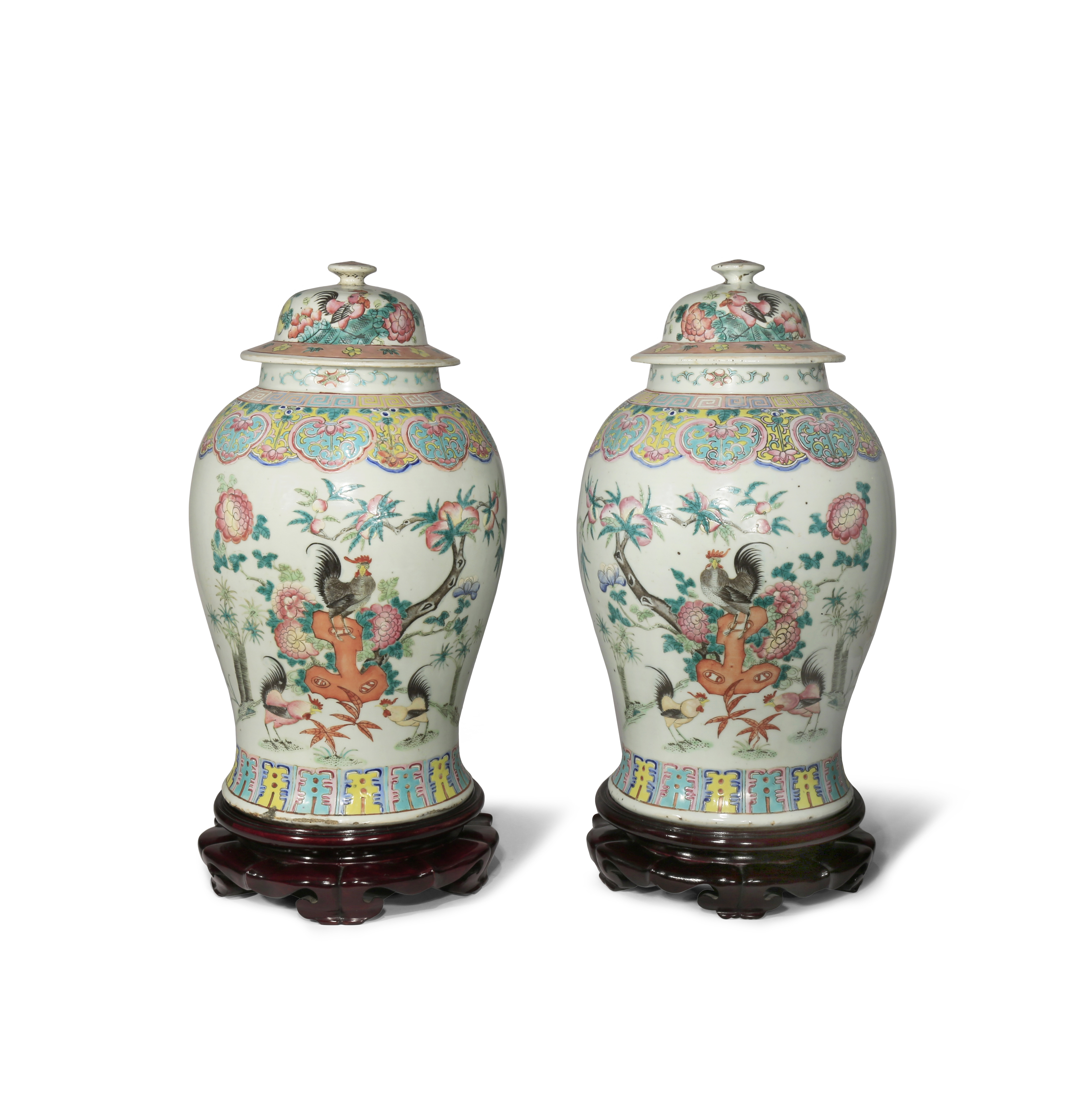 A PAIR OF CHINESE FAMILLE ROSE 'COCKERELS' BALUSTER VASES AND COVERS