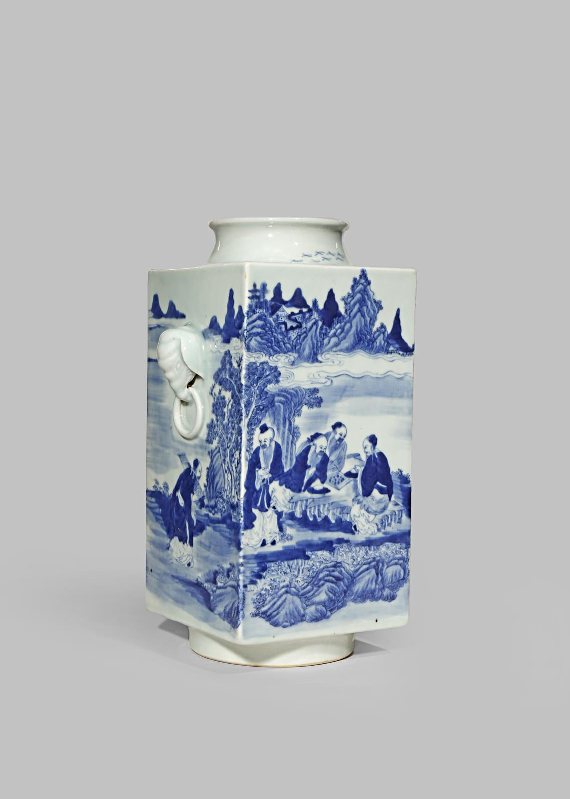 A CHINESE BLUE AND WHITE CONG-SHAPED VASE