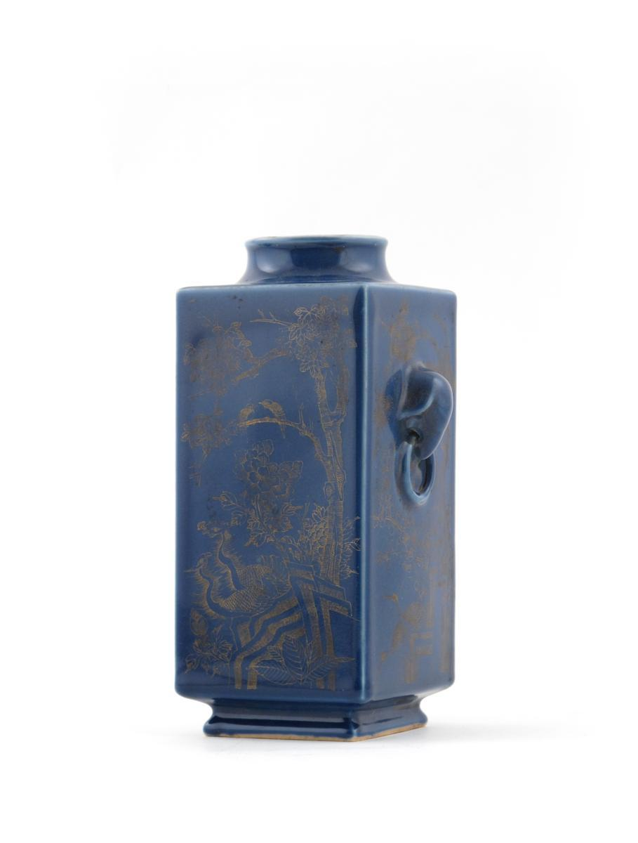A Chinese blue ground cong-shaped vase six character Qianlong mark but later