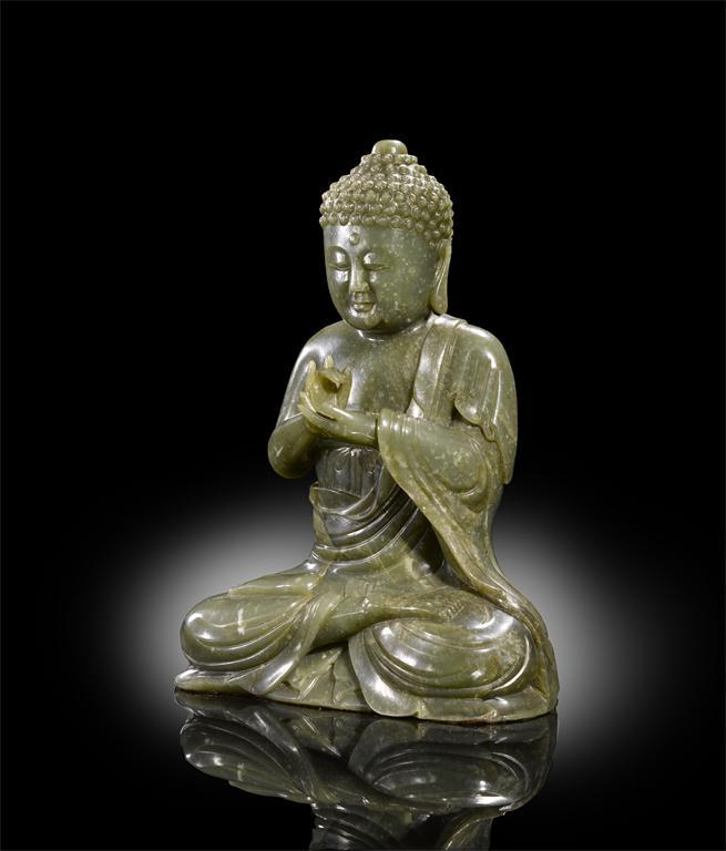 A Fine and Rare Large Chinese Spinach-Green Jade Figure of Gautama Buddha