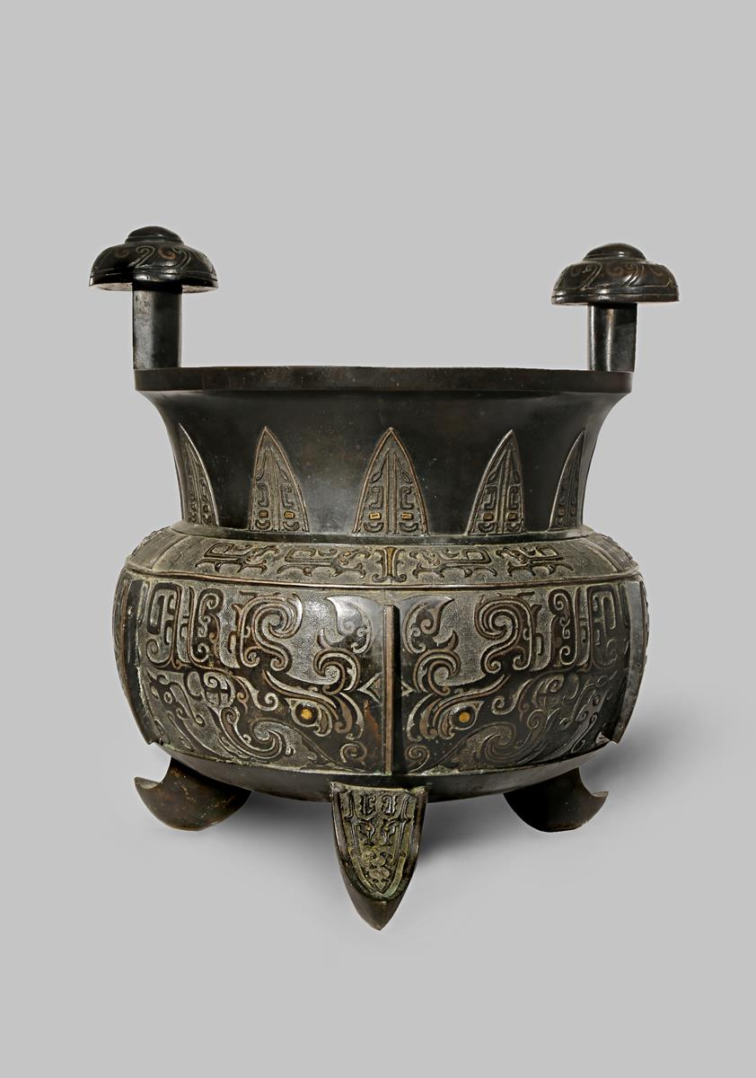 A MASSIVE CHINESE GOLD AND SILVER INLAID BRONZE ARCHAISTIC INCENSE BURNER