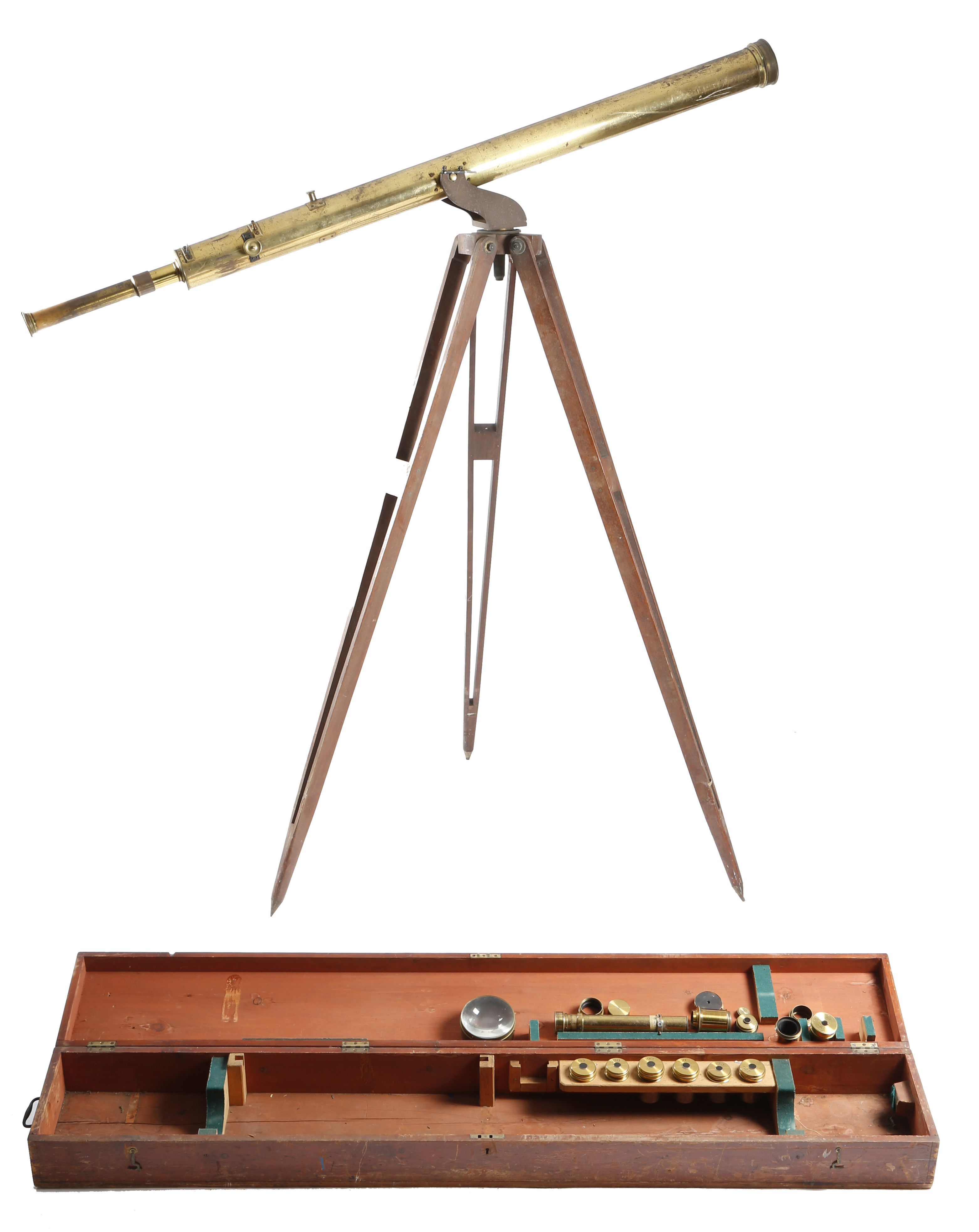 A 19TH CENTURY BRASS REFRACTING TELESCOPE BY DOLLOND OF LONDON
