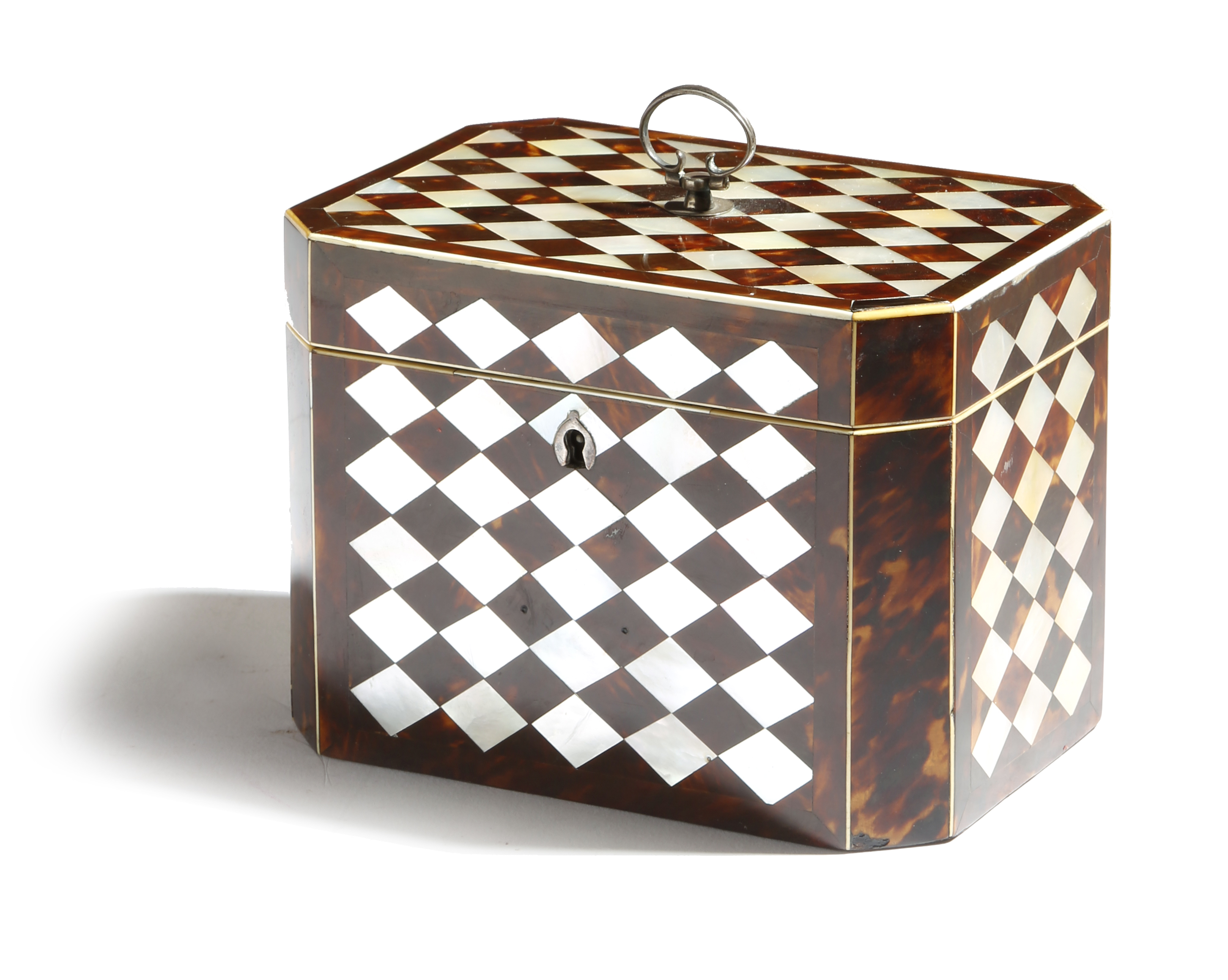 A Regency tortoiseshell and mother of pearl tea chest
