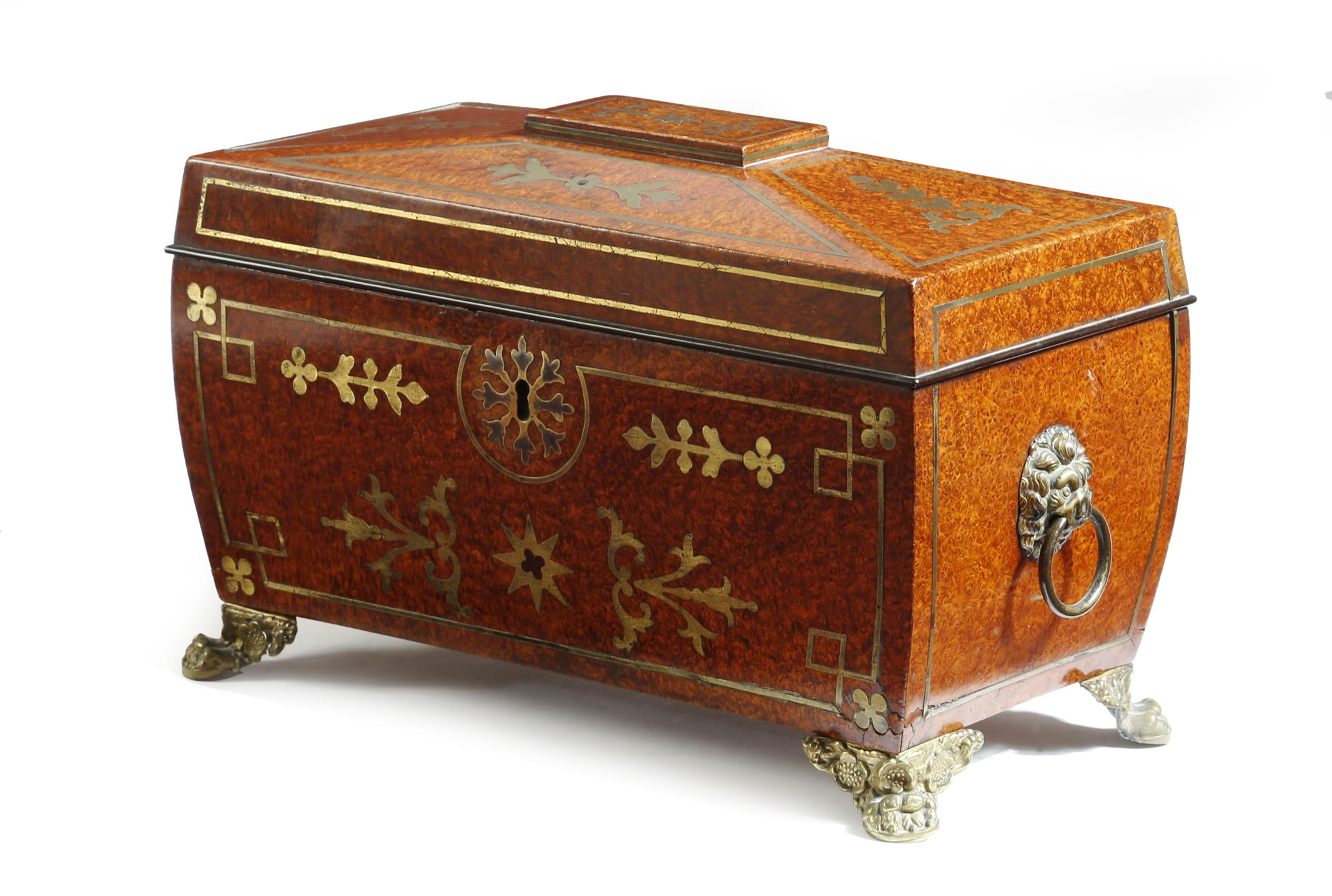 A George IV amboyna and brass marquetry tea chest