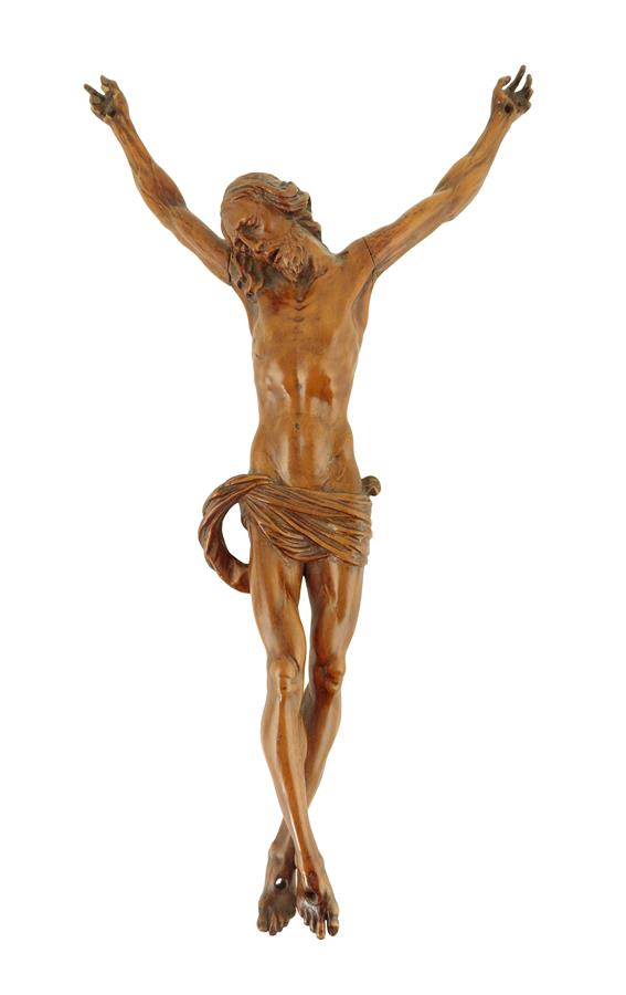 An 18th century South German carved boxwood Corpus Christi