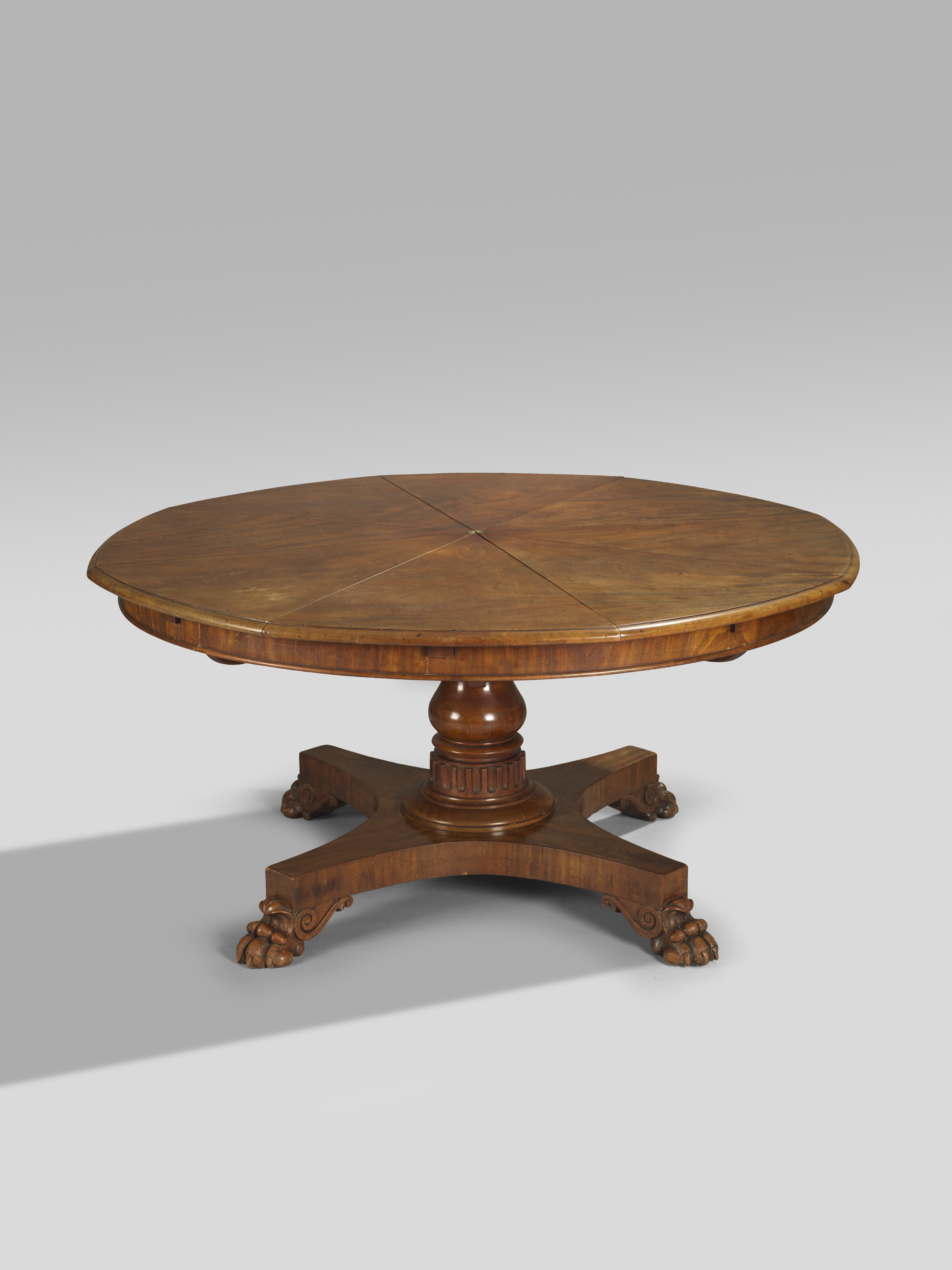 A rare early Victorian mahogany 'Jupe's patent' expanding dining table by...