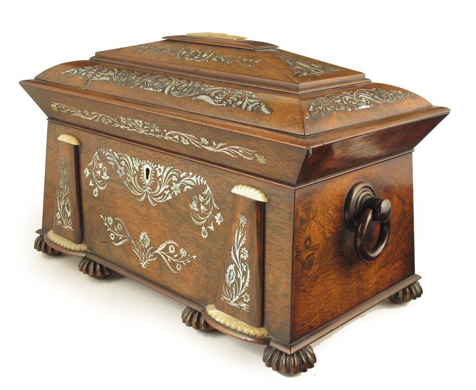 A William IV rosewood and mother of pearl tea chest