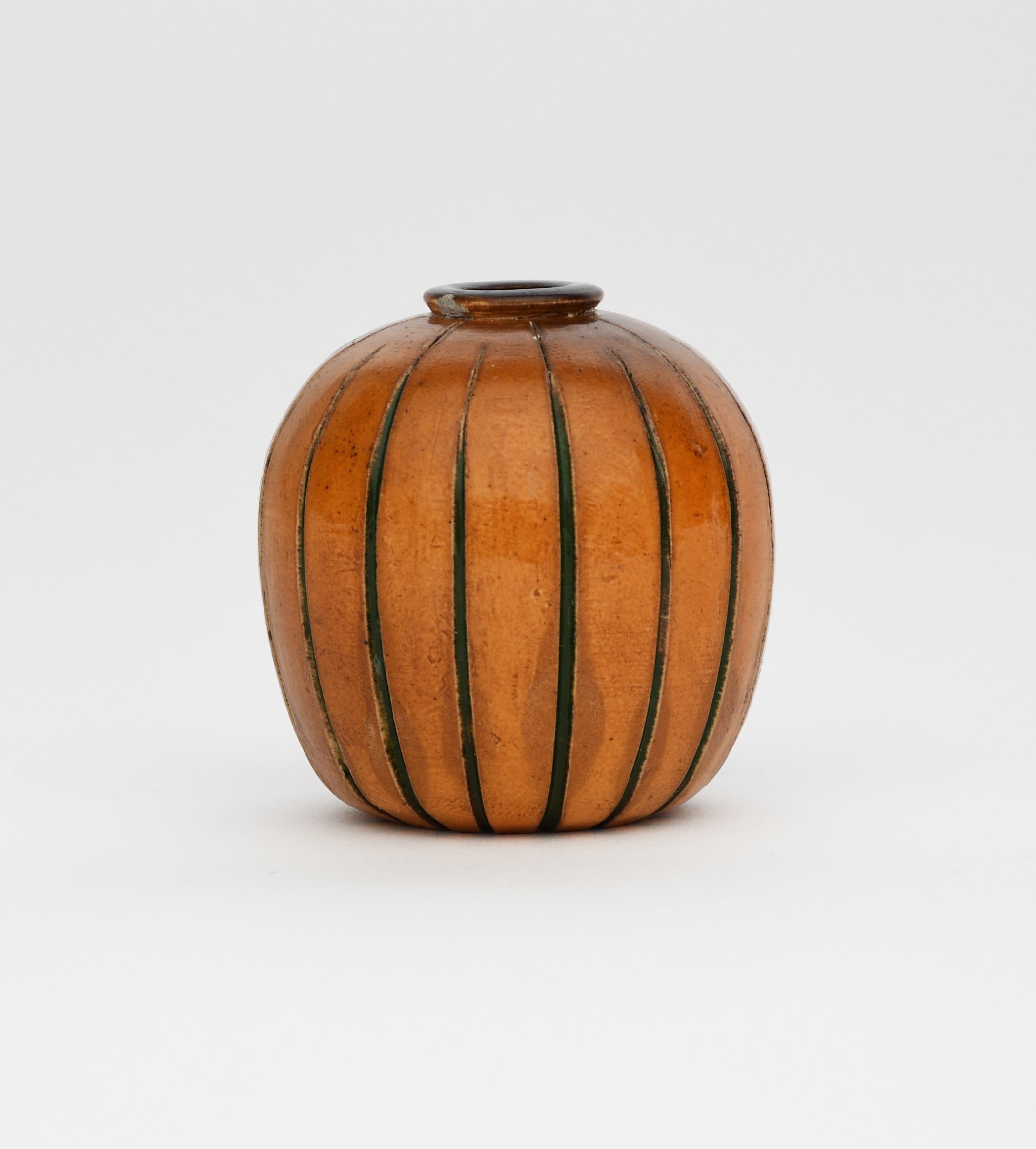 A Martin Brothers stoneware miniature gourd vase by Edwin and Walter Martin
