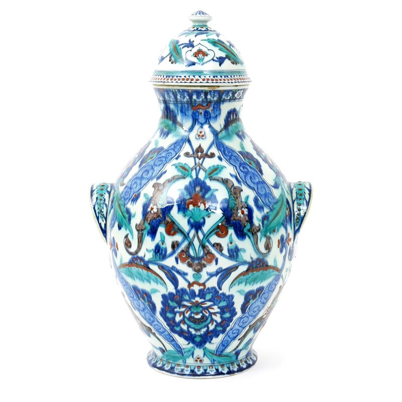 A Large Cantagalli Pottery Iznik Vase And Cover Woolley And Wallis