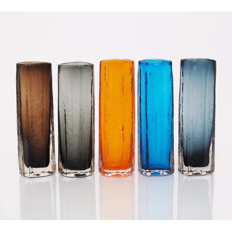 Five Whitefriars Glass Cucumber Vases Designed By Geoffrey Baxter