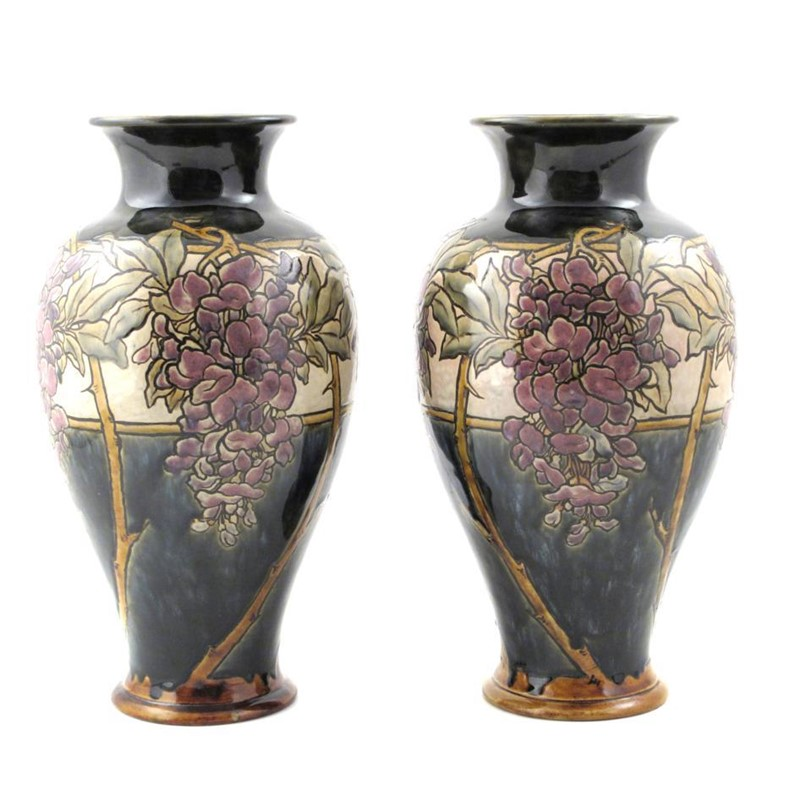 A Pair Of Royal Doulton Stoneware Vases By Eliza Simmance Woolley