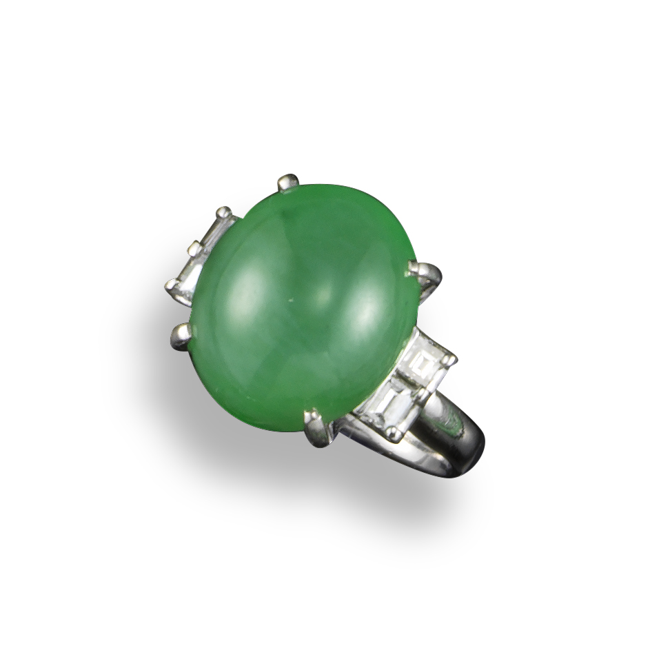 A jade and diamond ring