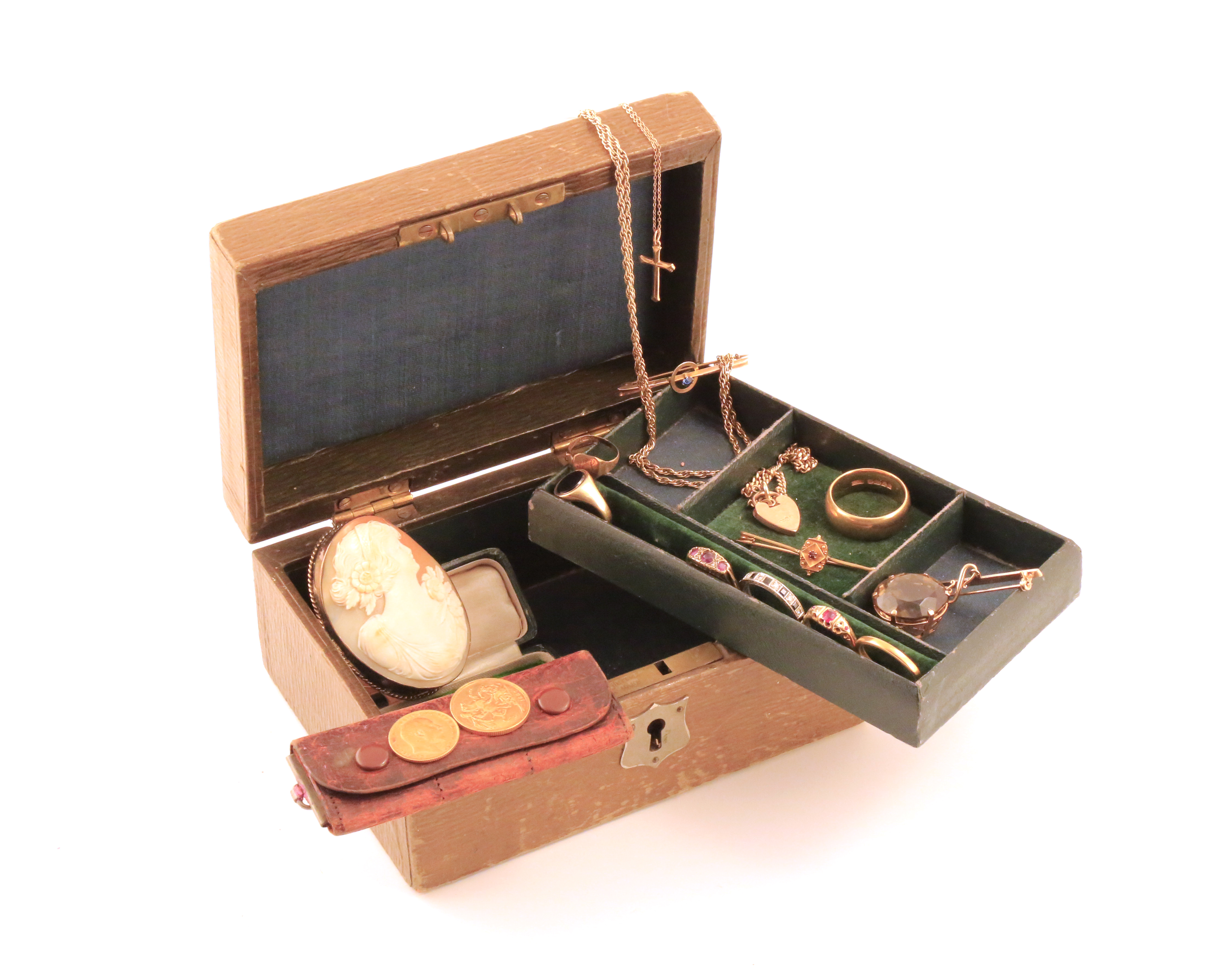 A jewellery casket containing various items of jewellery