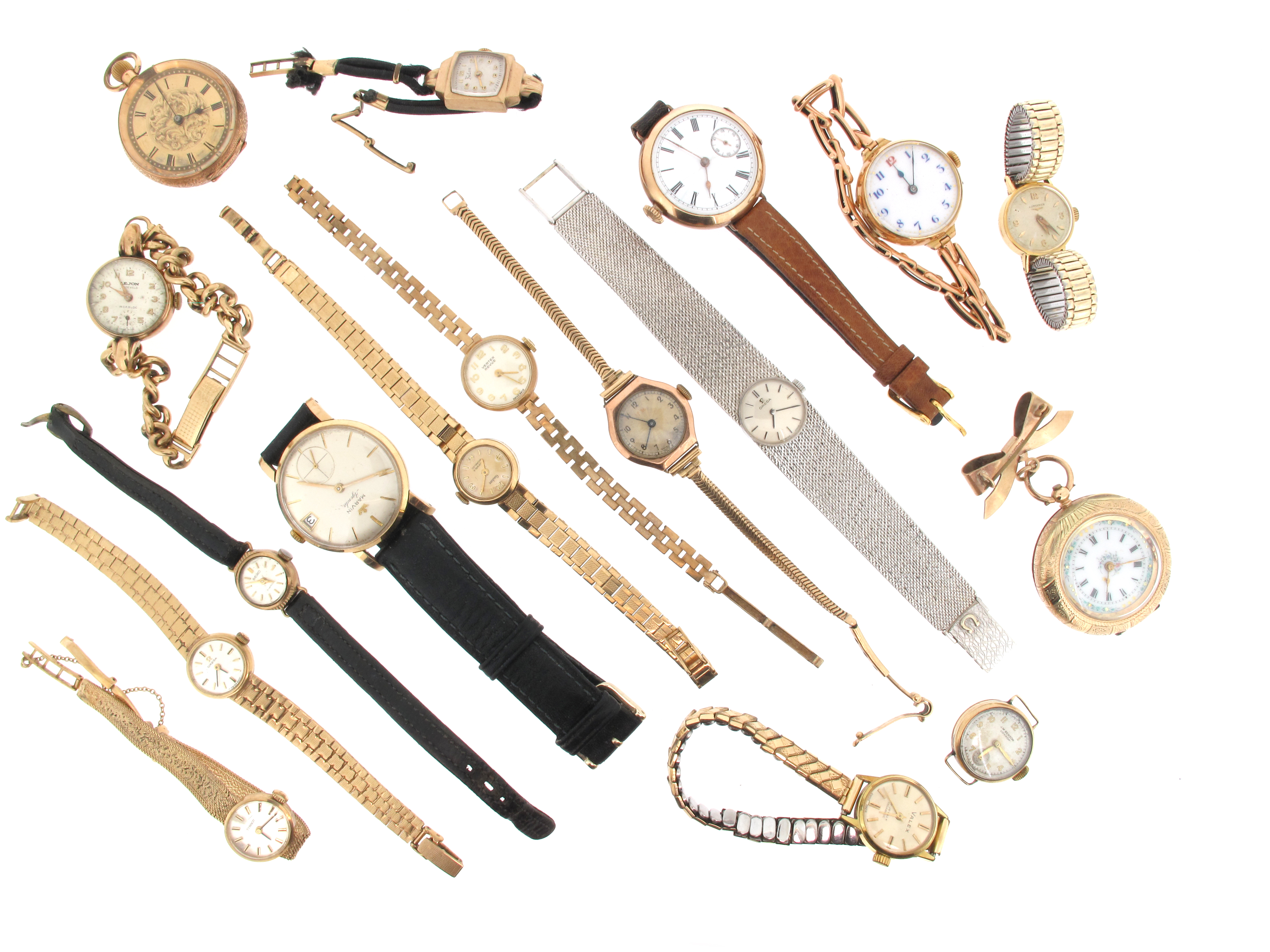 A lady's white gold wristwatch by Omega
