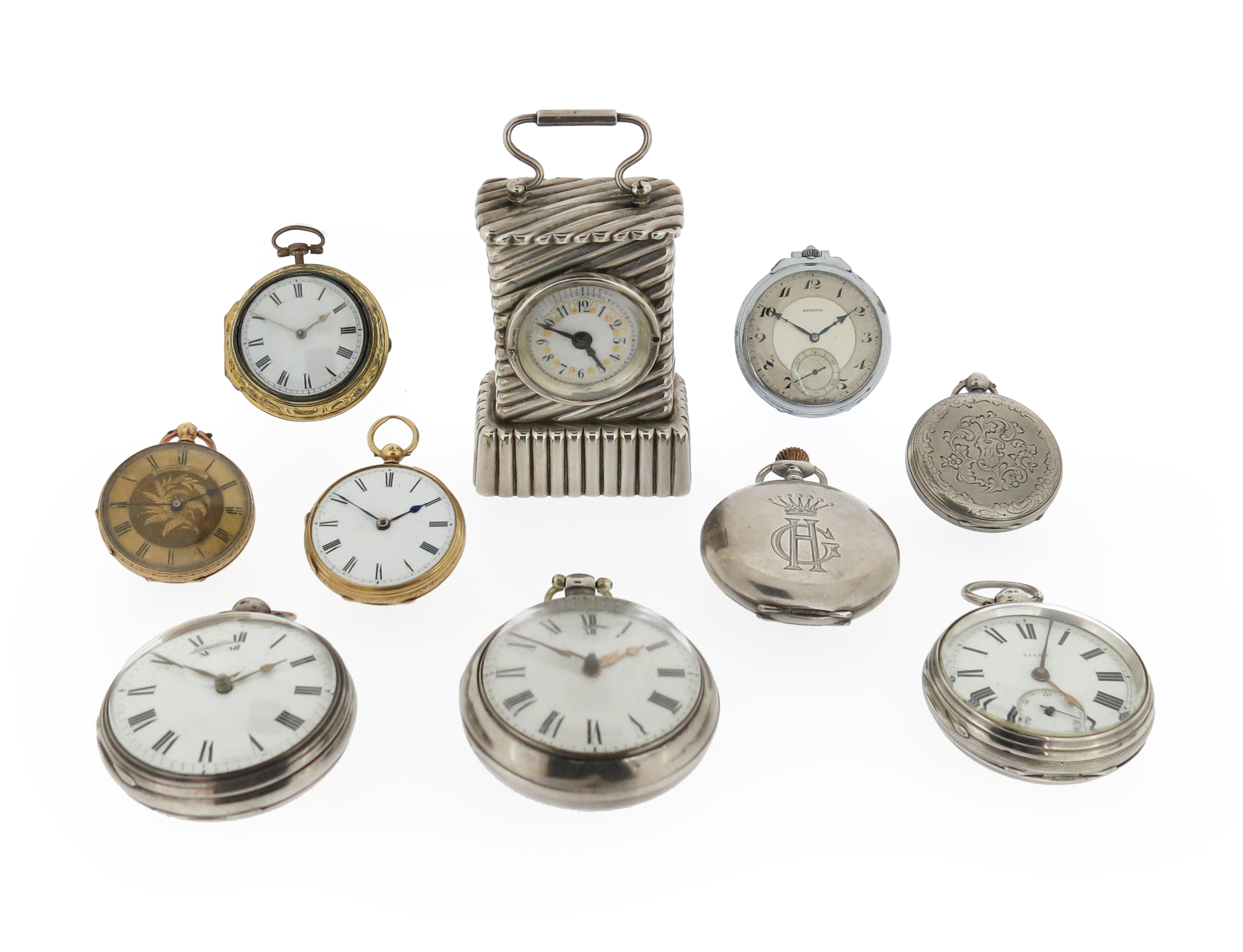 A collection of nine silver gold and base metal pocket watches and a desk clock