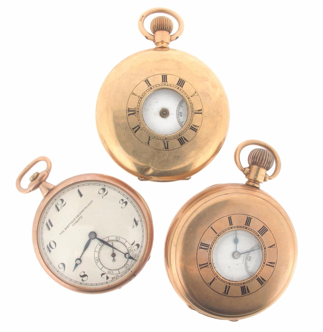A 9ct gold half hunting cased pocket watch by Elgin