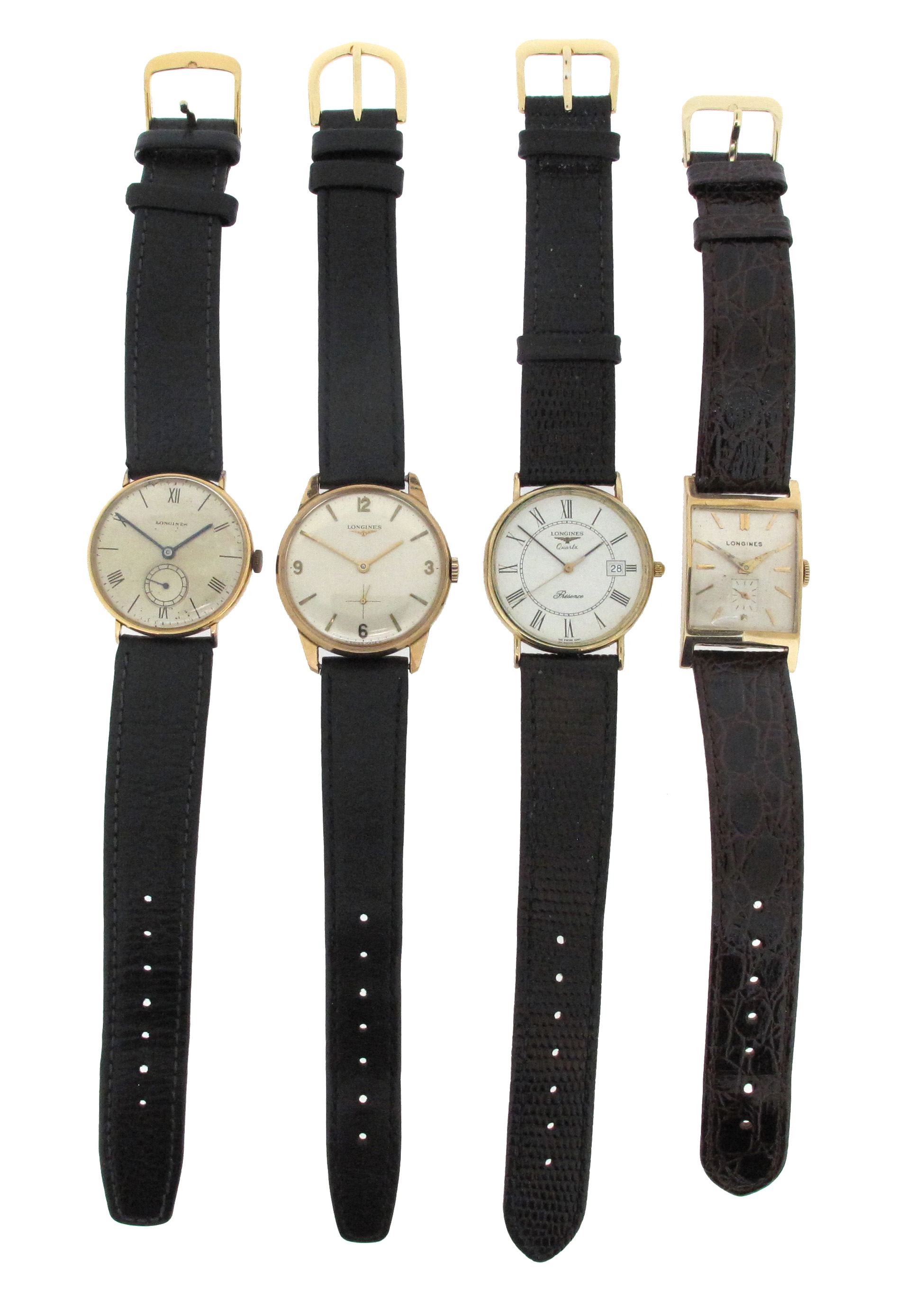 Four gold wristwatches by Longines