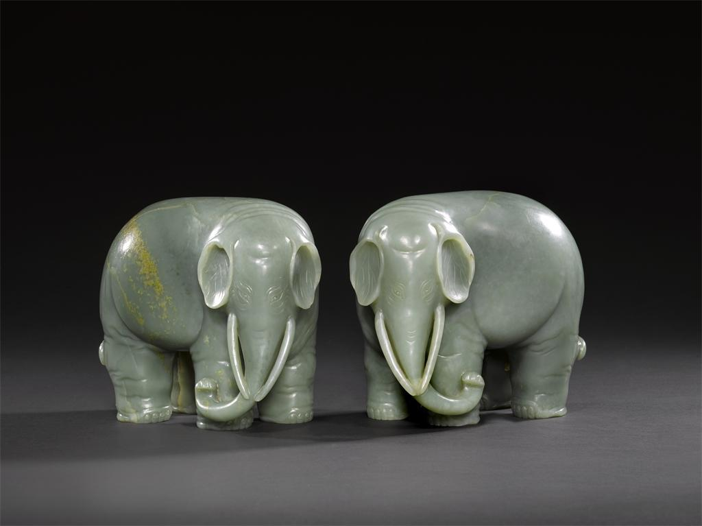 An Exceptional and Highly Important pair of Chinese Imperial Jade Elephants...