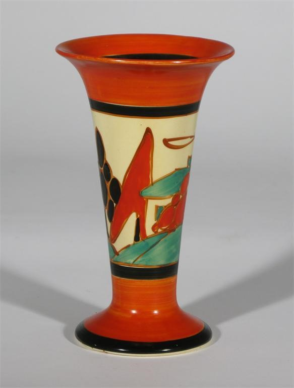 Red Trees And House A Clarice Cliff Fantasque Bizarre Vase Painted