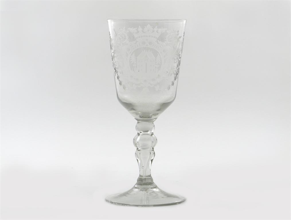 A large Dutch engraved glass goblet