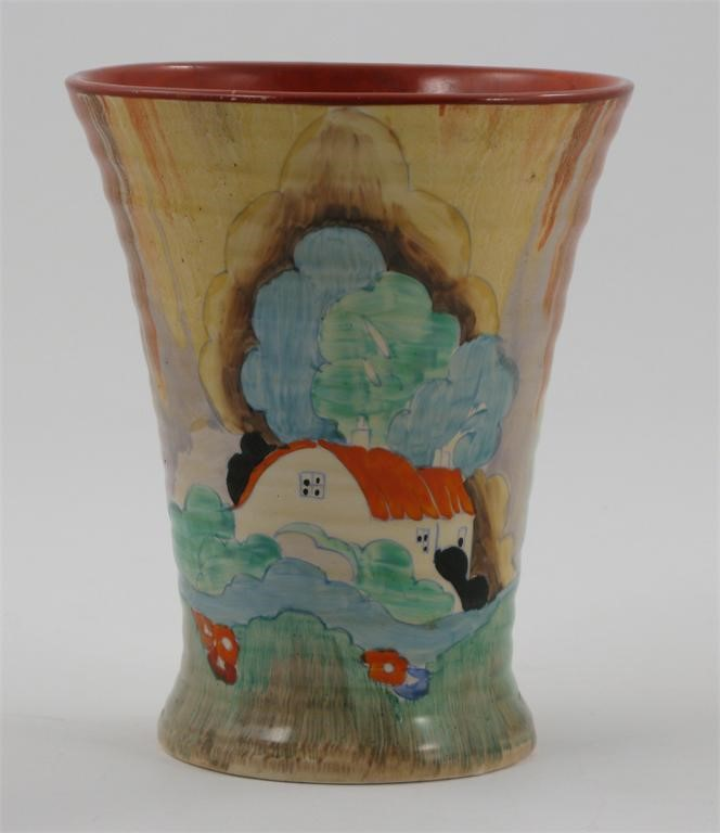 Forest Glen A Clarice Cliff Bizarre Vase Shape No602 Woolley And
