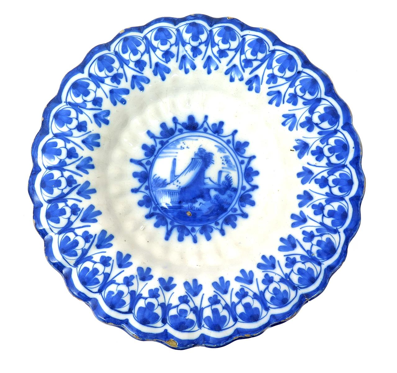 An English delftware lobed dish or cracknell c.1690