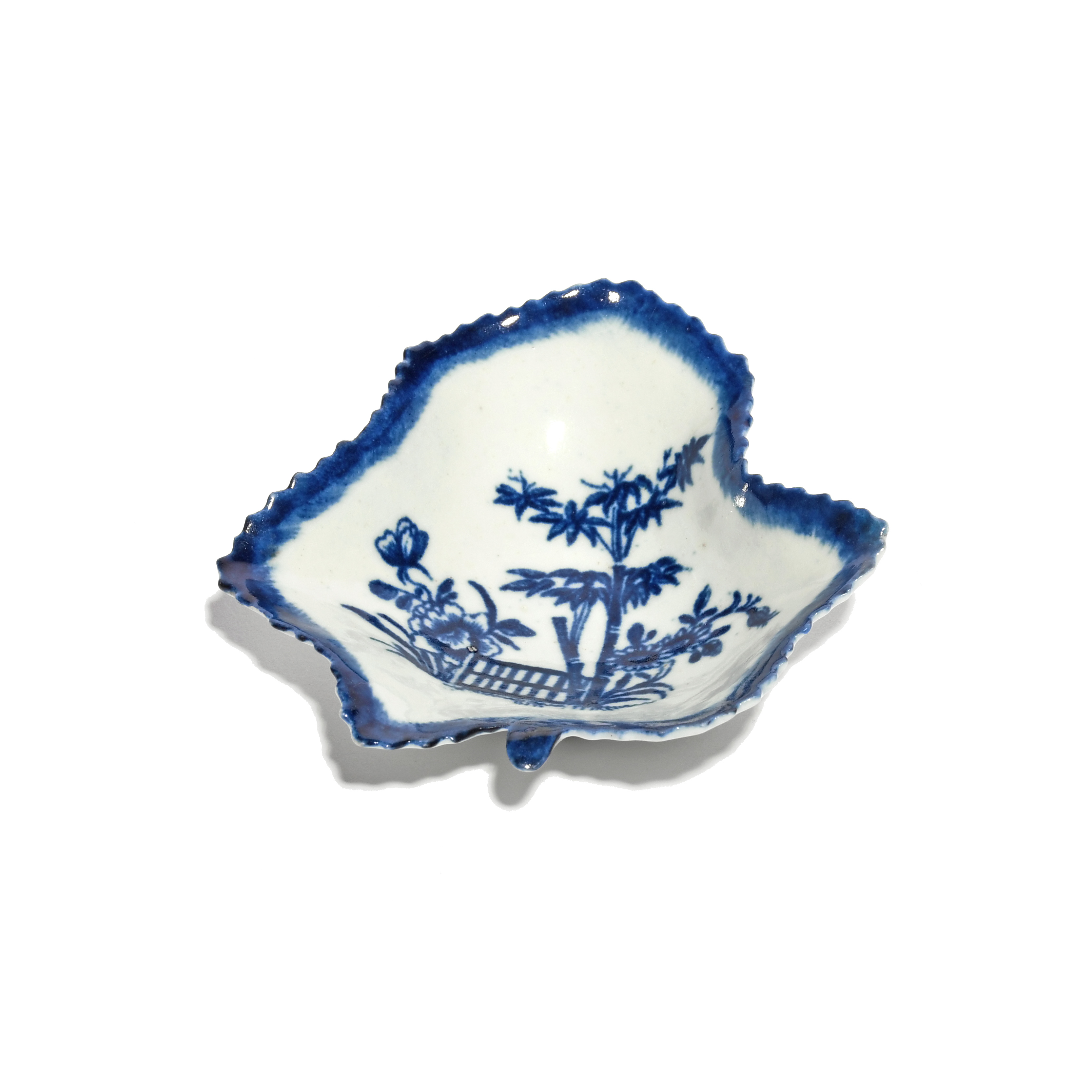 A rare Worcester blue and white pickle leaf dish c.1757-60