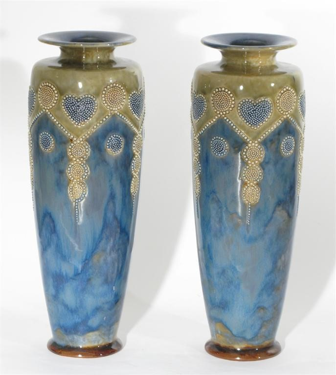 A Pair Of Royal Doulton Stoneware Vases By Minnie Webb Woolley And